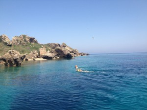 Two guests complete their crossing from Mathraki to Trachia Island