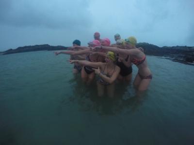 Last person in makes the tea!  Winter swimming Scotland