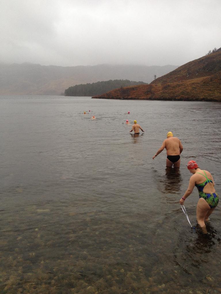 Winter swimmers enter Loch Morar - December