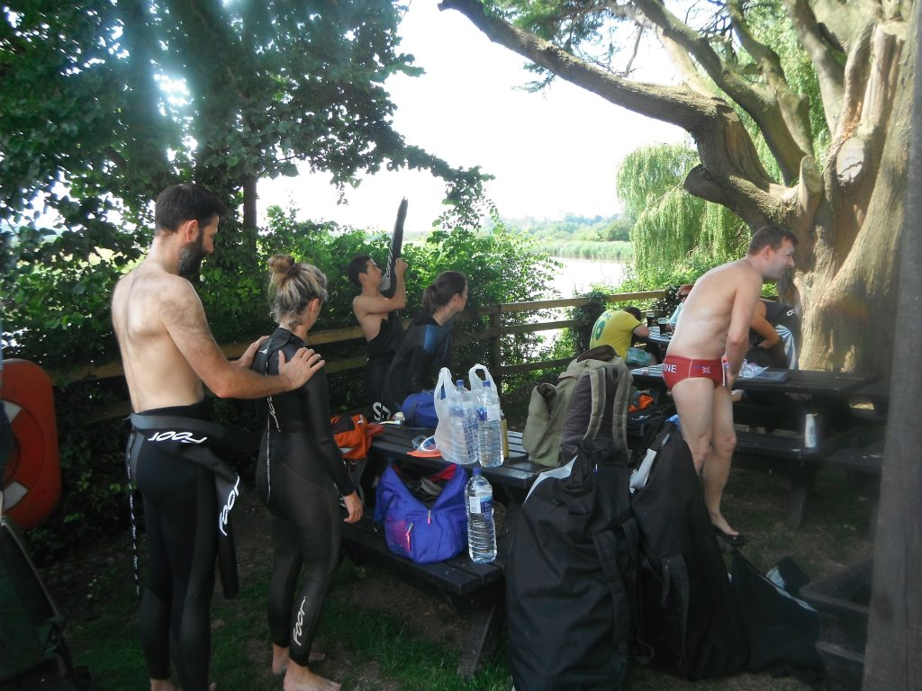 Getting ready to swim the River Arun