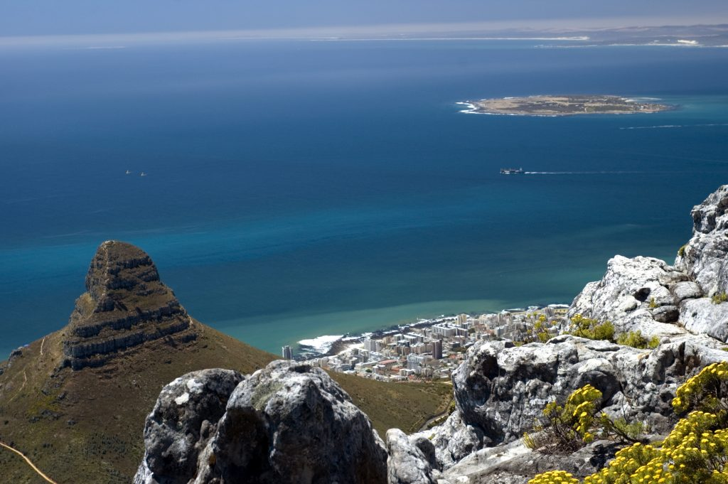Top view from table mountain, looking down at Cape Town city, South Africa.